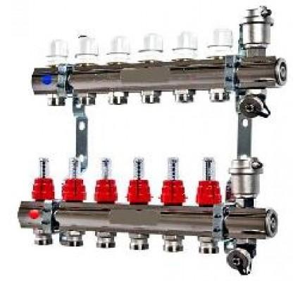 Колекторная группа с регулировочными и термостатическими вентилями Uni-fitt (Италия)
